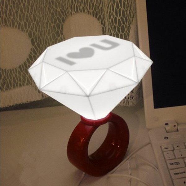 BO雜貨【SV9641】USB鑽石造型小夜燈LED情人節求婚結婚告白小夜燈桌燈鑽戒燈iloveyo