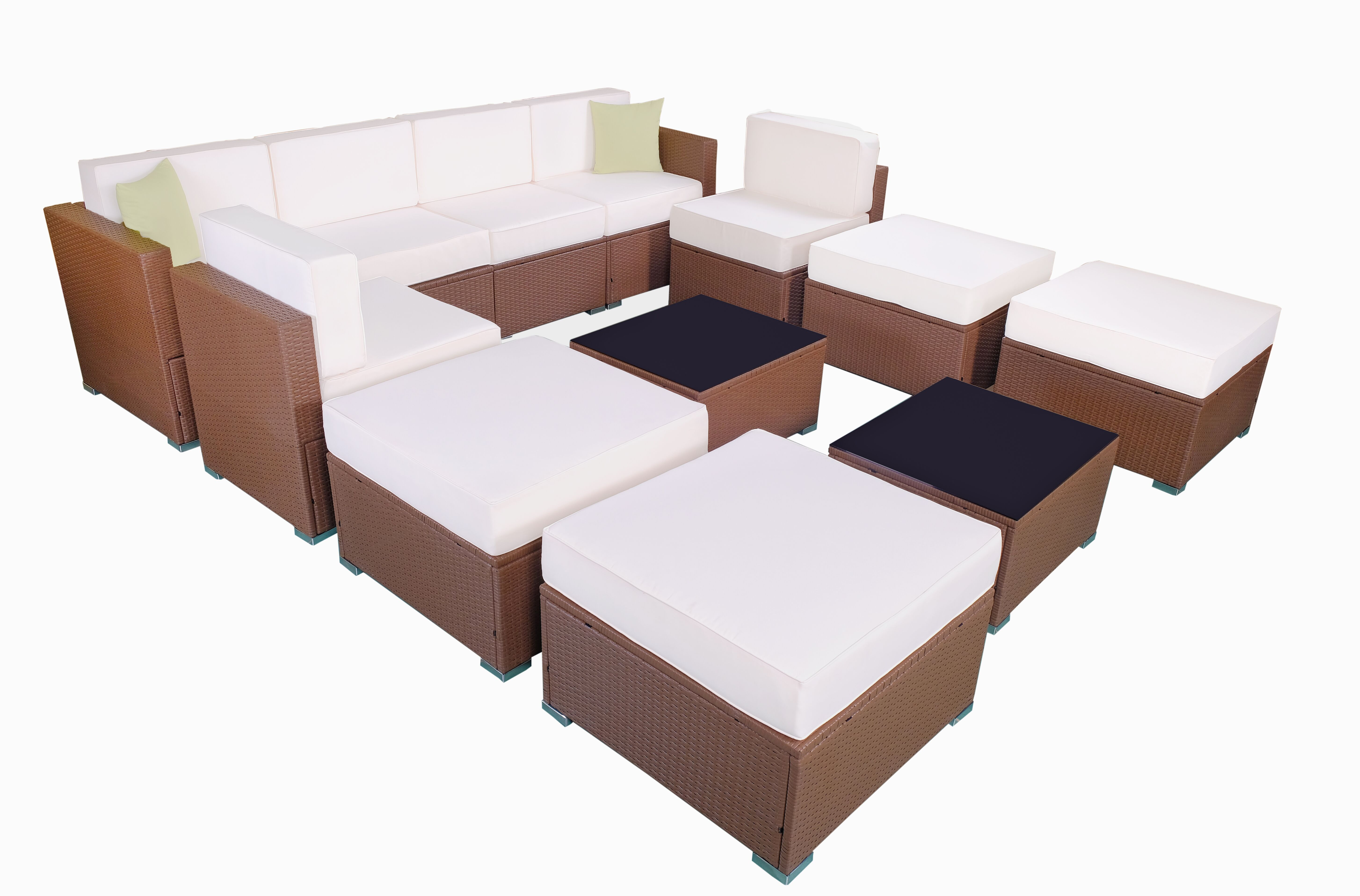 Superbe MCombo Patio Furniture Sectional Sets Wicker Rattan Couch Sofa Chair Luxury  Big Size 12 PC 0