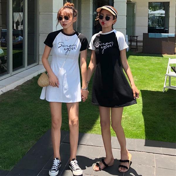閨蜜裝字母接袖洋裝棉質運動休閒棒球短裙顯瘦啦啦隊韓國ANNAS.