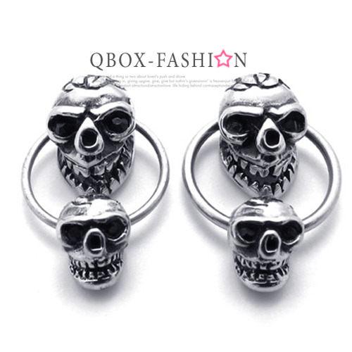 QBOX Fashion 飾品:《QBOX》FASHION飾品【W10020353】精緻個性環圈雙骷髏頭鑄造插式316L鈦鋼耳環(防過敏)