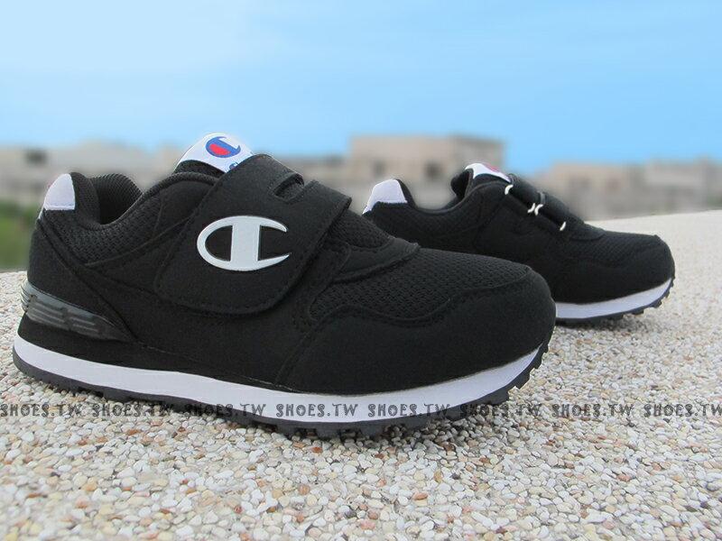 Shoestw【621240110】Champion 大童鞋 運動鞋 黏帶 黑白 女生也可以穿
