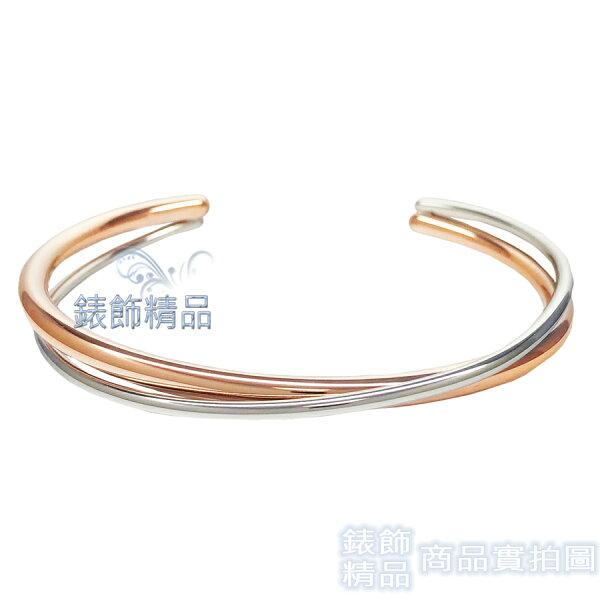 【錶飾精品】CK飾品KJ8XPF2002CalvinKleinC形交叉固定式玫金+銀色女性手環316L白鋼