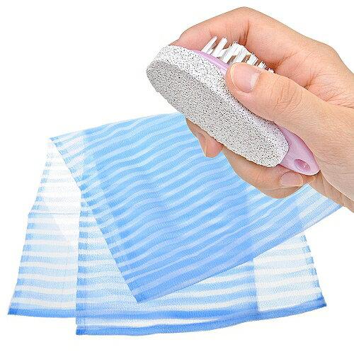 【夏日沐浴特惠組】日本製造aisen男用硬質120公分條紋沐浴巾+去角質輕石刷