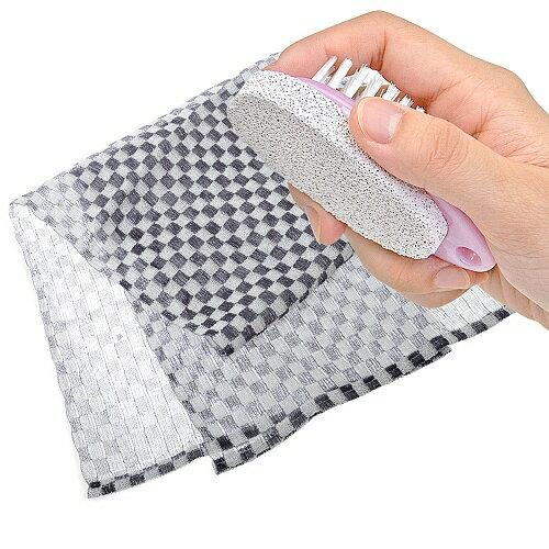 【夏日沐浴特惠組】日本製造aisen男用硬質110公分方格沐浴巾+去角質輕石刷