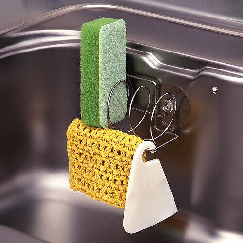 日本 LEC不鏽鋼3格菜瓜布吸盤架