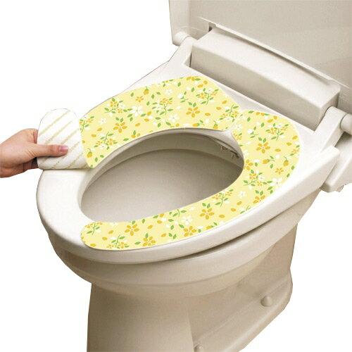 [促銷]日本LEC抗菌防臭馬桶座墊貼(粉黃花卉)