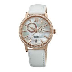 ORIENT 東方錶ELEGANT系列 (SET0W001W) 璀璨星辰日月相機械錶 皮帶款 珍珠白 36.5mm