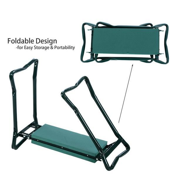 Folding Garden Seat Kneeler Kneeling Pad Rest Outdoor Lawn Beach Chair With Tool Pouch 5