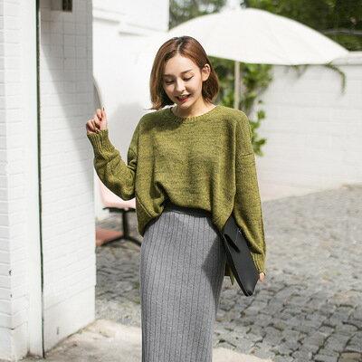 [全店免運] 毛衣開叉蝙蝠衫粗線針織衫 / 樂天時尚館