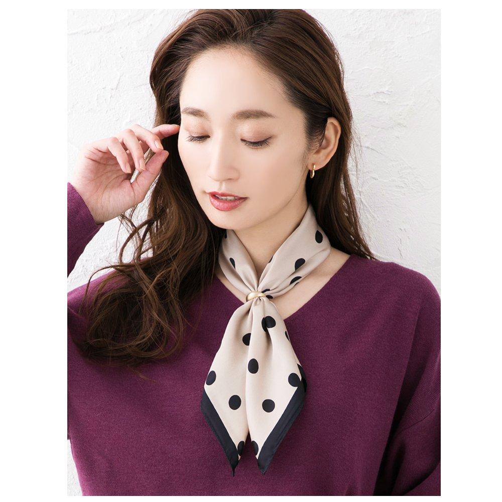 日本CREAM DOT  /  スカーフ 正方形 ファッション小物 バッグ ドット柄 くすみカラー 大人 上品 エレガント 華奢 シンプル フェミニン モカ ベージュ ブラウン ブラック  /  a03515  /  日本必買 日本樂天直送(1690) 1