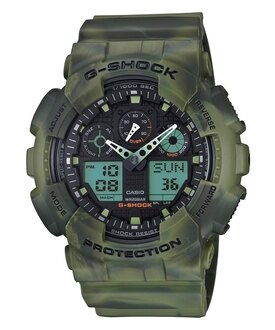 CASIO G-SHOCK GA-100MM-3A綠煙迷彩雙顯腕錶/51mm