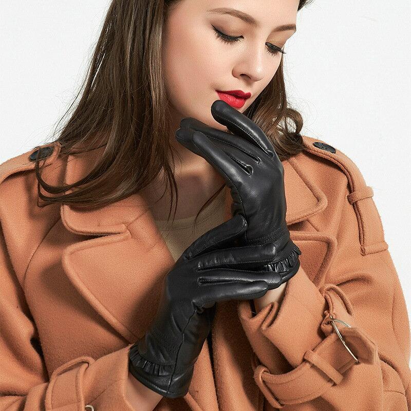 真皮手套保暖手套-綿羊皮加絨褶皺荷葉邊女手套73wm62【獨家進口】【米蘭精品】 0