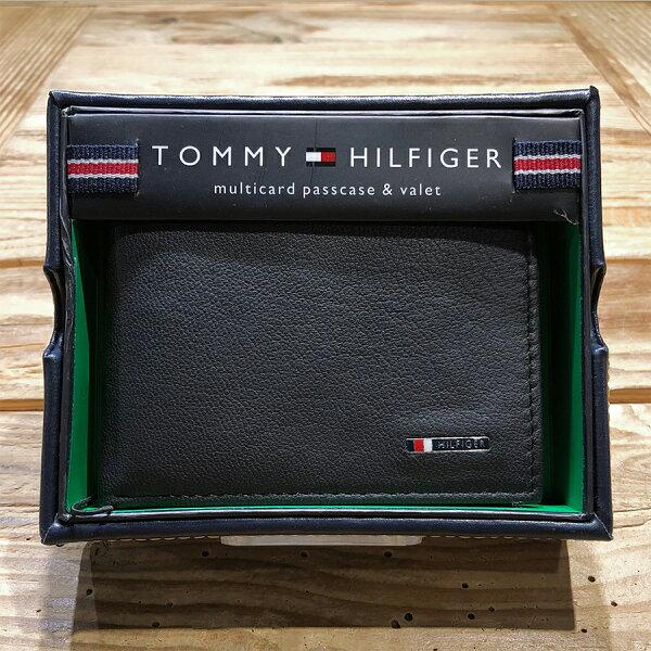 美國百分百【全新真品】TommyHilfiger真皮皮夾皮包卡片TH短夾錢包卡夾黑色J042