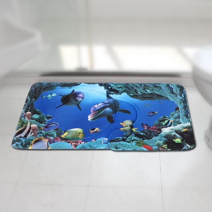 3Pcs/Set Bathroom Non-Slip Blue Shark Pedestal Rug Lid Toilet Cover Bath Mat 2