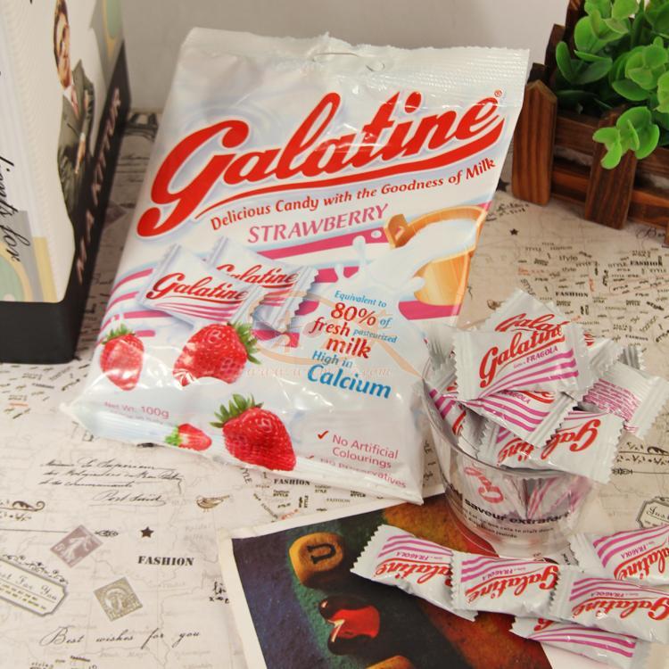 有樂町 食品~GALATINE~義大利佳樂錠草莓牛奶片 100g  80133991847