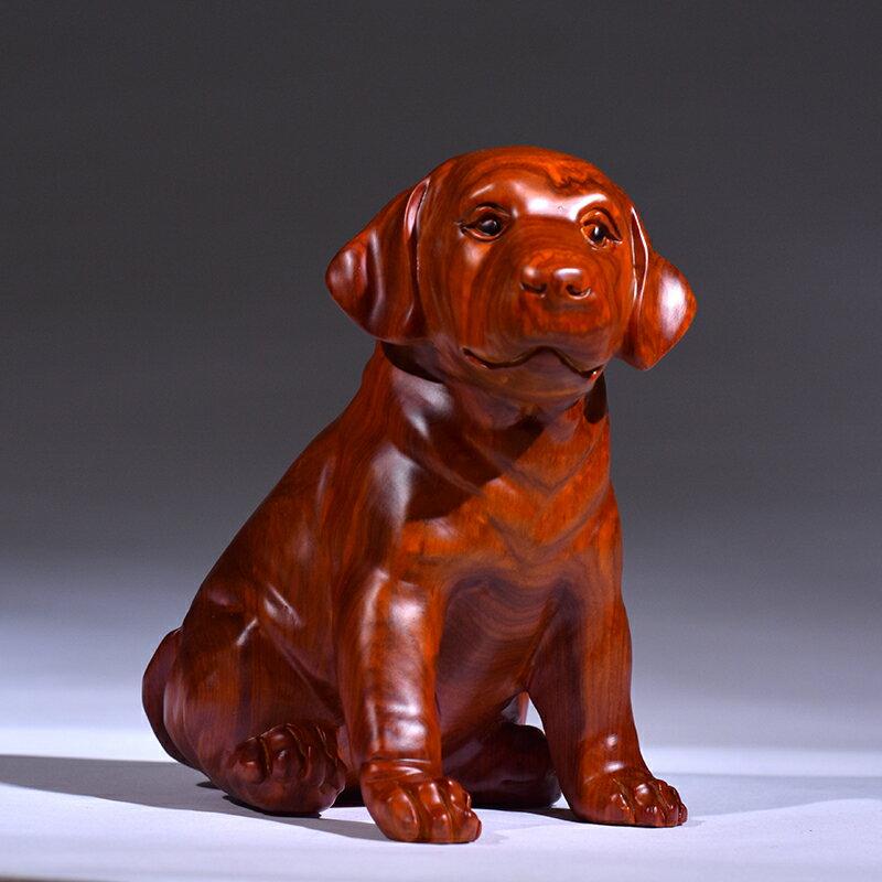 黃花梨木雕狗擺件 實木生肖狗招財風水 紅木家居客廳裝飾品工藝品