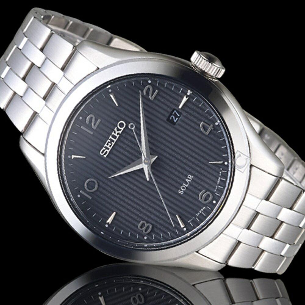 SEIKO精工直紋時尚太陽能紳士手錶 V157-0CN0D SNE489P1