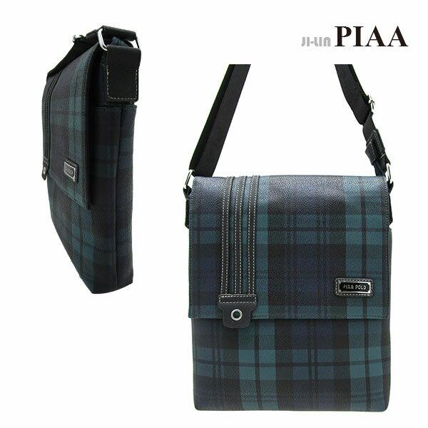 <br/><br/>  5-P814C【PIAA POLO 皮亞 保羅】綠格直立式半掀蓋側背包<br/><br/>