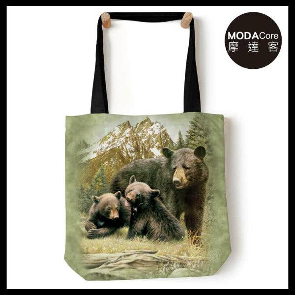 【摩達客】(預購)美國TheMountain黑熊家族藝術環保托特包
