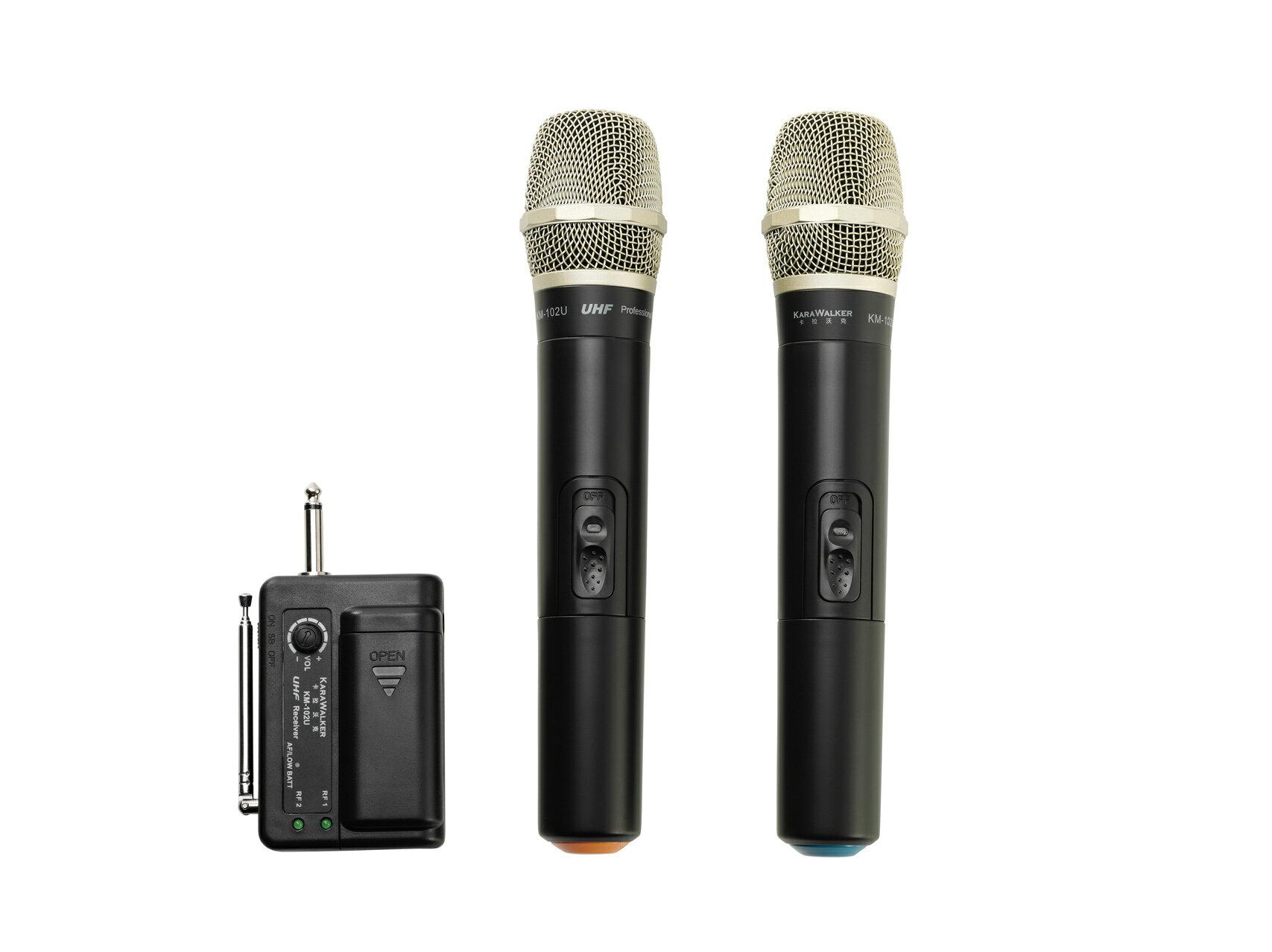 樂卡拉 1對2可攜式UHF無線麥克風 KM102U