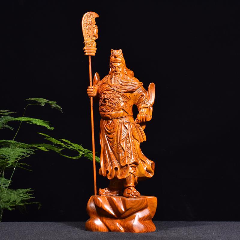 木雕關公佛像大號黃花梨武財神實木紅木工藝品送禮家居飾品擺件
