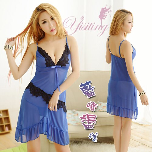 [漫朵拉情趣用品]《Yisiting》藍情盪漾!歡愉兩件式柔紗情趣睡衣 NO.531239