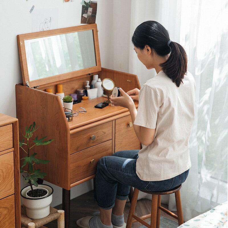 北歐實木小戶型梳妝臺 現代簡約臥室ins原創設計化妝桌可定制