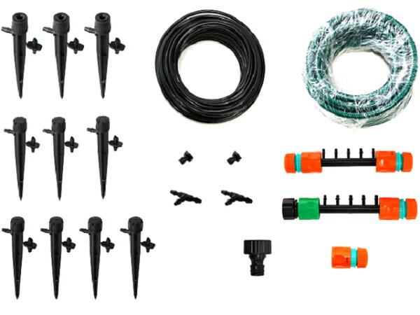 美國ORBIT自動定時灑水器加(四分轉兩分接頭五孔)可調滴頭插針式組合包(可噴灑半徑2~5cm)