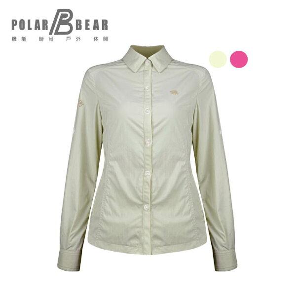 【POLARBEAR】女輕薄抗UV吸濕排汗彈性長袖襯衫
