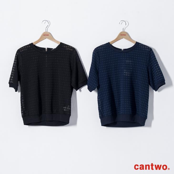 cantwo透視網紗格紋短袖上衣(共三色) 6