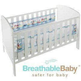 【淘氣寶寶】英國【BreathableBaby】透氣嬰兒床圍 兩側型 (19431海洋帆船款)