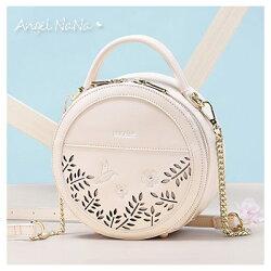 手提包-NUCELLE高質感簍空花草集時尚鍊條小圓包  AngelNaNa 【BA0300】