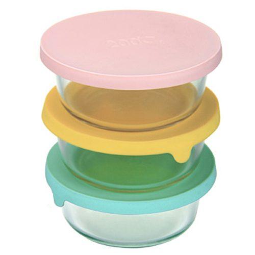 【晨光】圓型矽膠蓋耐熱玻璃保鮮盒單入400ml藍黃粉(160171)【現貨】