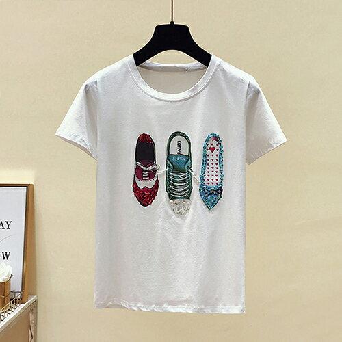 *ORead*韓版圓領印花釘珠亮片小鞋短袖T恤(2色S~XL) 1