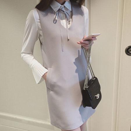 洋裝 典雅名媛蝴蝶結綁帶兩件式洋裝【D3011】☆雙兒網☆ 2