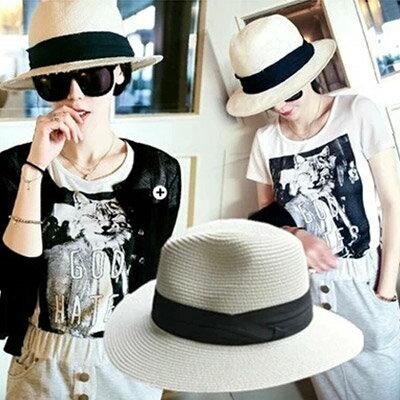 草帽 歐美時尚白色遮陽帽沙灘帽【O2925】☆雙兒網☆ 0