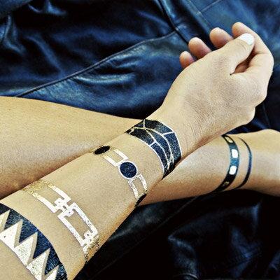 ☆雙兒網☆刺青 歐美明星部落客時尚金屬刺青燙金紋身貼紙【O2927】 1