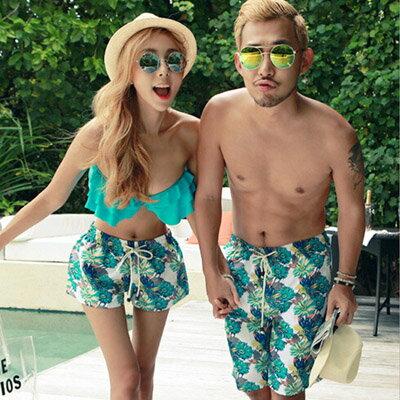 泳衣 韓版荷葉邊3件式比基尼海灘褲情侶泳裝【O2931】(男裝)☆雙兒網☆ 0