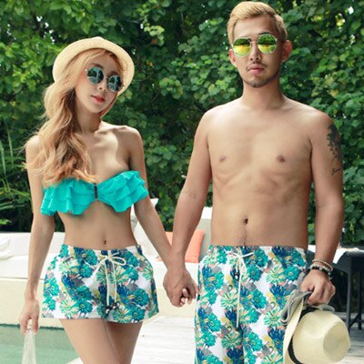 泳衣 韓版荷葉邊3件式比基尼海灘褲情侶泳裝【O2931】(男裝)☆雙兒網☆ 1