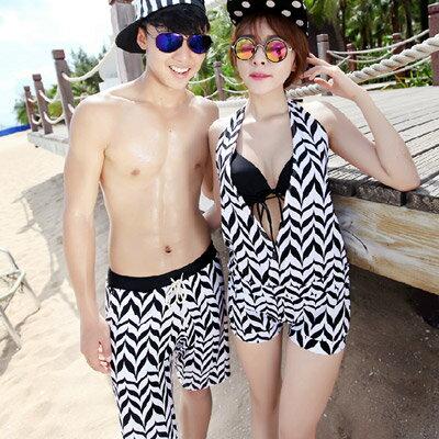 泳衣 幾何圖案三件式比基尼海灘褲情侶泳裝【O2932】(女裝)☆雙兒網☆ 0