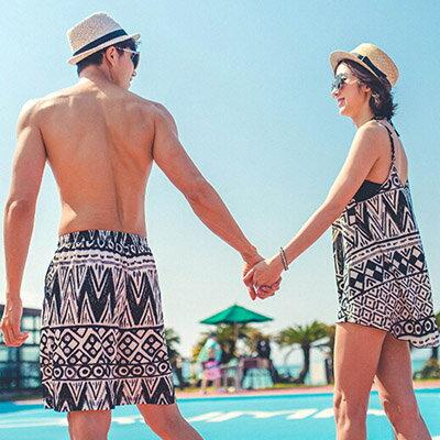 泳裝 幾何圖騰3件式比基尼情侶泳裝海灘褲【O2938】(女裝)☆雙兒網☆ 2