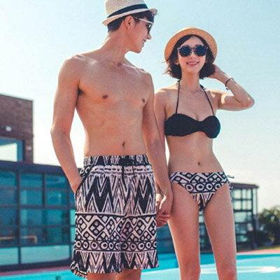 泳裝 幾何圖騰3件式比基尼情侶泳裝海灘褲【O2938】(女裝)☆雙兒網☆ 3