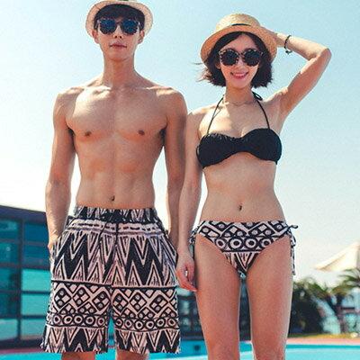 泳裝 幾何圖騰3件式比基尼情侶泳裝海灘褲【O2938】(女裝)☆雙兒網☆ 0