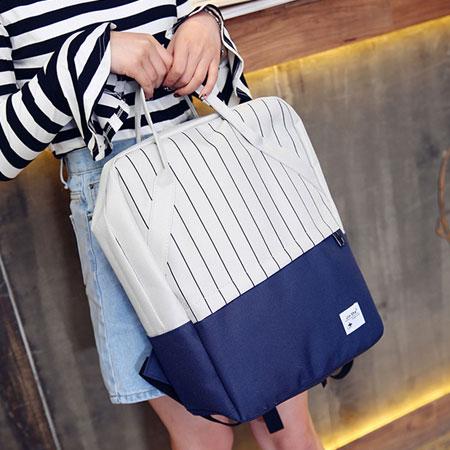 後背包 韓版條紋書包電腦包雙肩包【O3105】☆雙兒網☆ 0