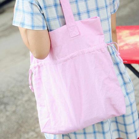 肩背包  韓版素色抽繩束口帆布包環保袋【O3121】☆雙兒網☆ 1