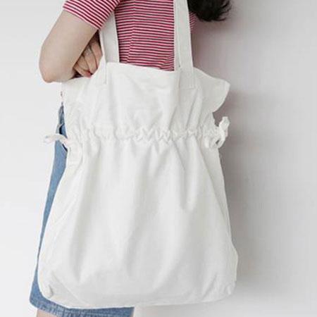 肩背包  韓版素色抽繩束口帆布包環保袋【O3121】☆雙兒網☆ 0