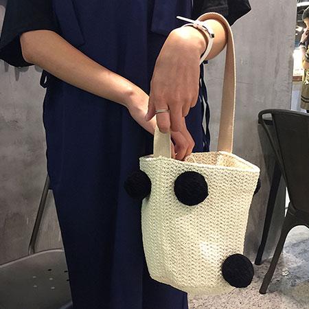 手提包 韓版可愛球球漱口編織圓桶包【O3136】☆雙兒網☆ 1