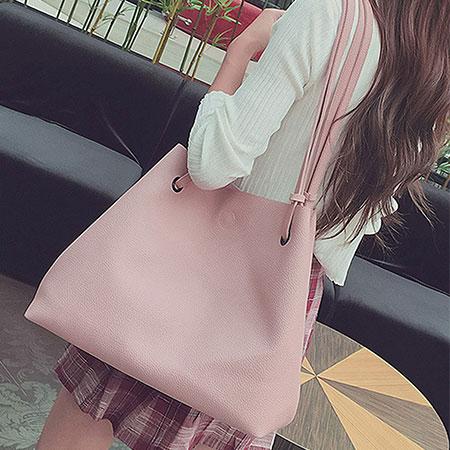 肩背包  簡約素色實用大容量子母包側背包【O3138】☆雙兒網☆ 1