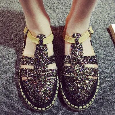 樂福鞋 流行時尚草編平底亮片涼鞋【S1130】☆雙兒網☆ 1