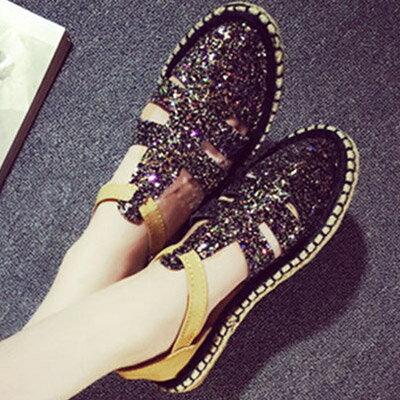 樂福鞋 流行時尚草編平底亮片涼鞋【S1130】☆雙兒網☆ 0